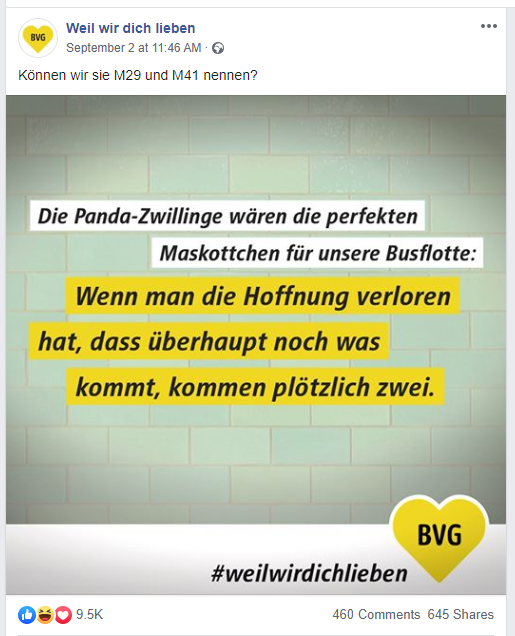 Tweet Berliner Verkehrsbetriebe